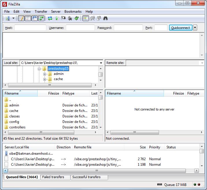 Ejemplo de pantalla del FileZilla