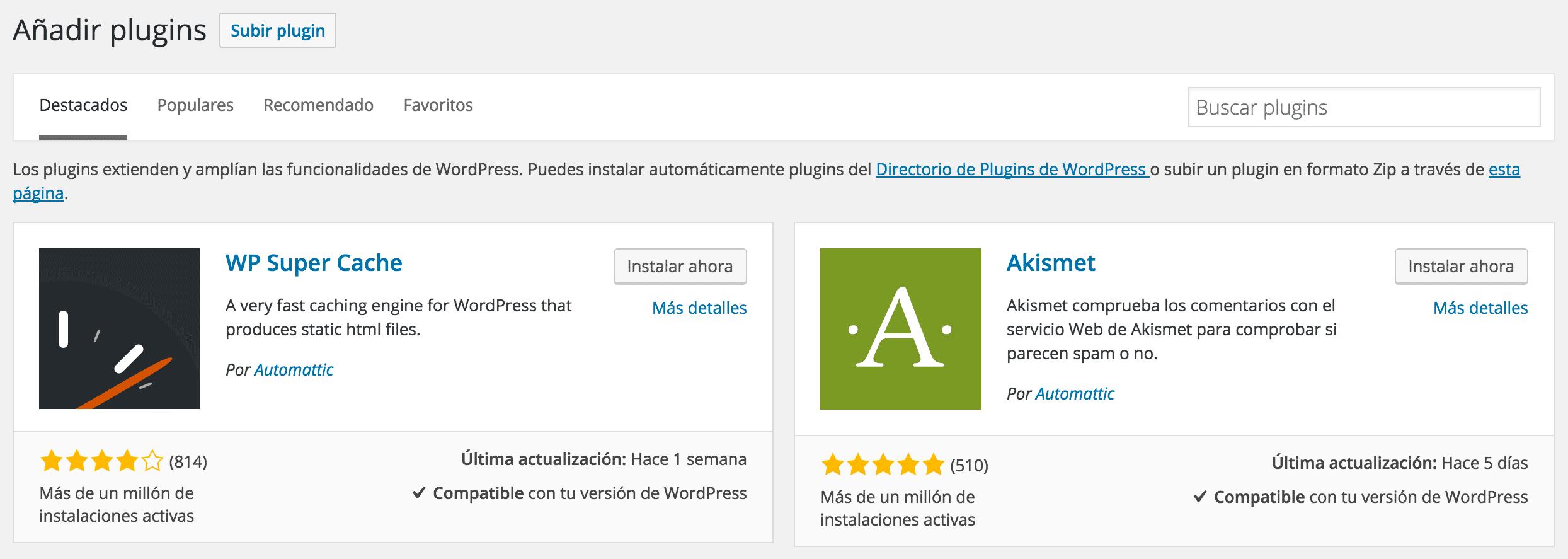 Repositorio público de plugins en WordPress